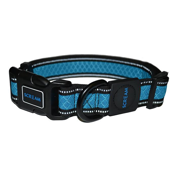 Scream REFLECTIVE ADJ. COLLAR Loud Blue 3.8cm x 48-76cm - Click to enlarge