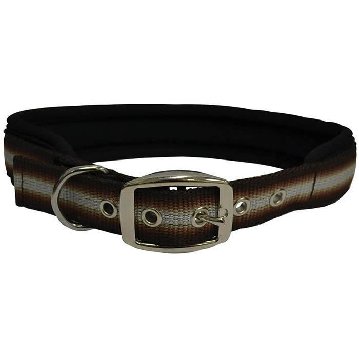 "ZEEZ MEMORY FOAM PADDED COLLAR 1"" x 26"" Brown Ribbon (66cm) - Click to enlarge"