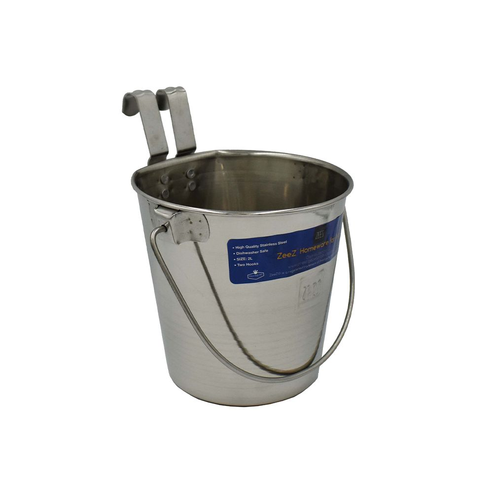 SS FLAT SIDED BUCKET PAIL 1.90Litres - TWO HOOKS - Click to enlarge