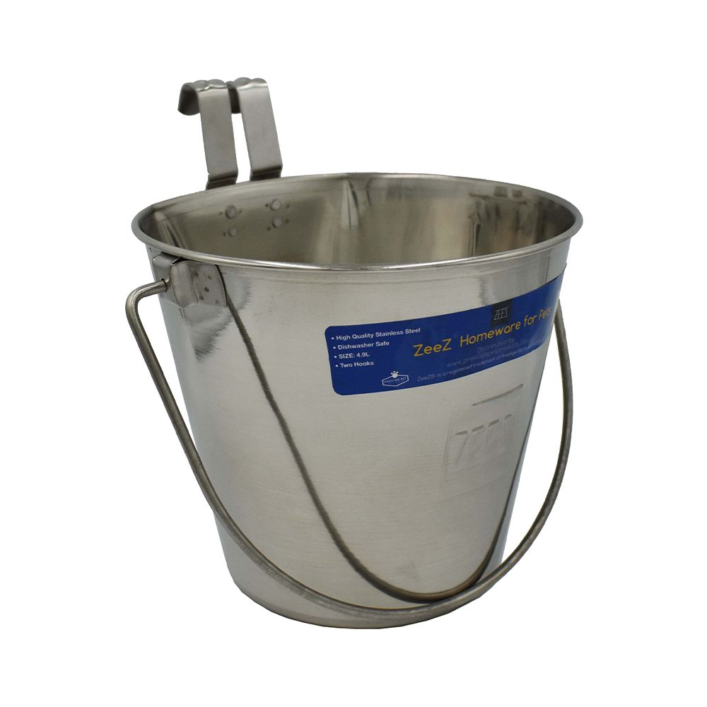 SS FLAT SIDED BUCKET PAIL 3.1Litres - TWO HOOKS - Click to enlarge