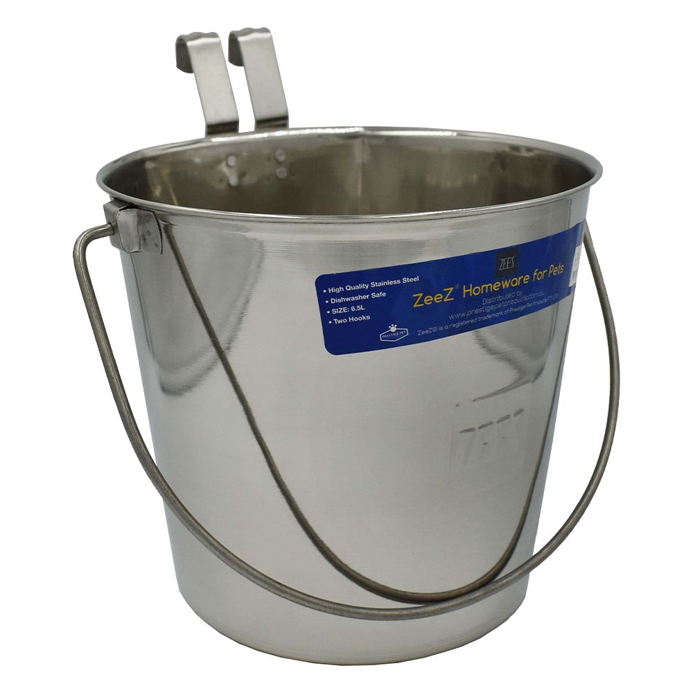 SS FLAT SIDED BUCKET PAIL 6.5Litres - TWO HOOKS - Click to enlarge
