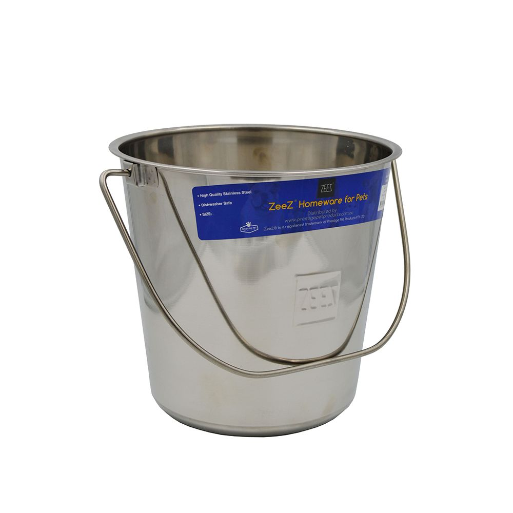 ZEEZ STAINLESS STEEL ROUND BUCKET PAIL 8.5Litres - Click to enlarge