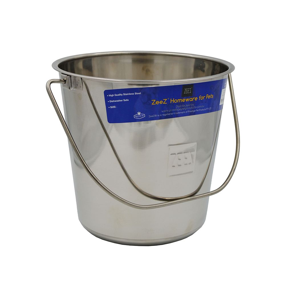 ZEEZ STAINLESS STEEL ROUND BUCKET PAIL 12.3Litres - Click to enlarge