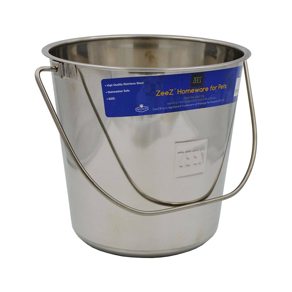 ZEEZ STAINLESS STEEL ROUND BUCKET PAIL 15.2Litres - Click to enlarge