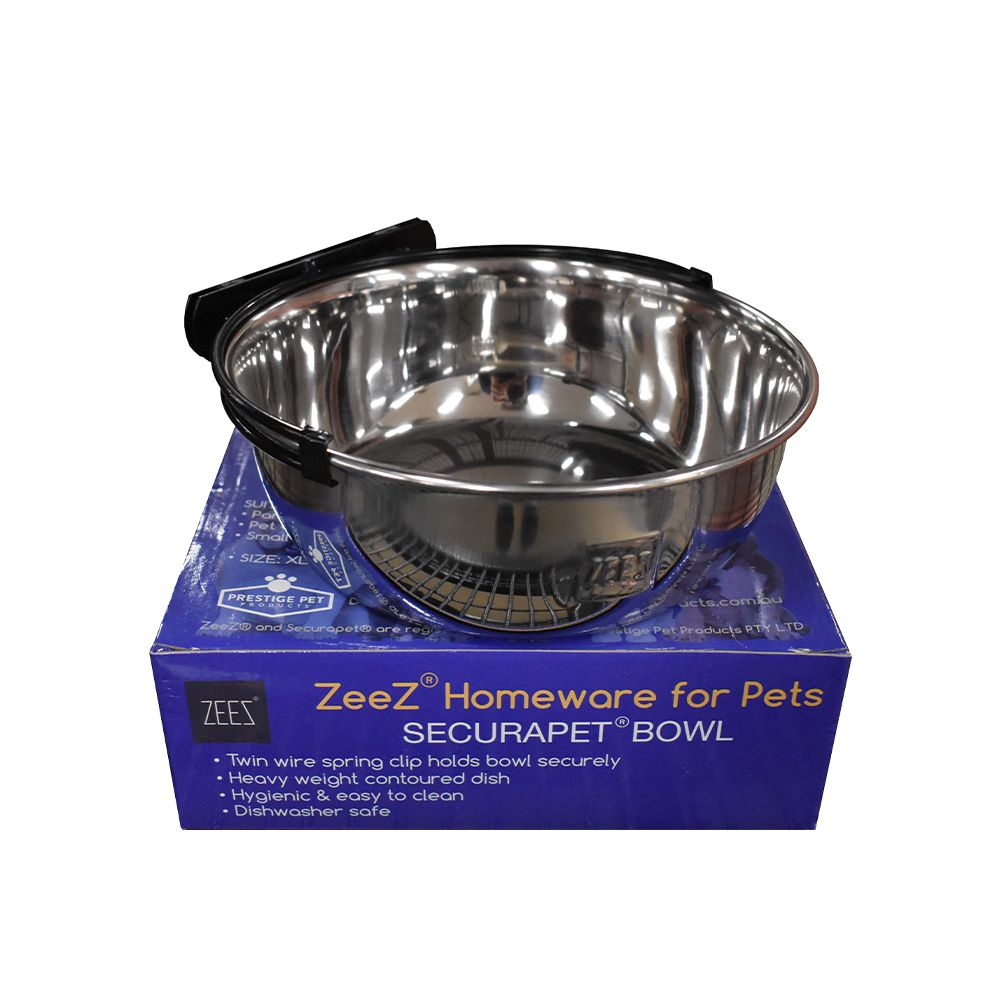 ZEEZ SecuraPet BOWL - X-LARGE 1.89Litre Stainless Steel - Click to enlarge
