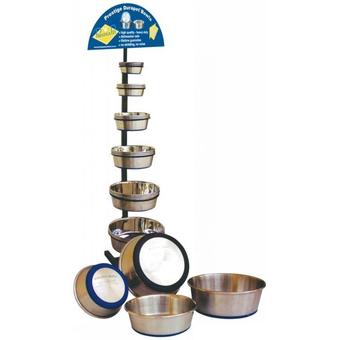 durapet display stand w stock contains 6 each size bowl