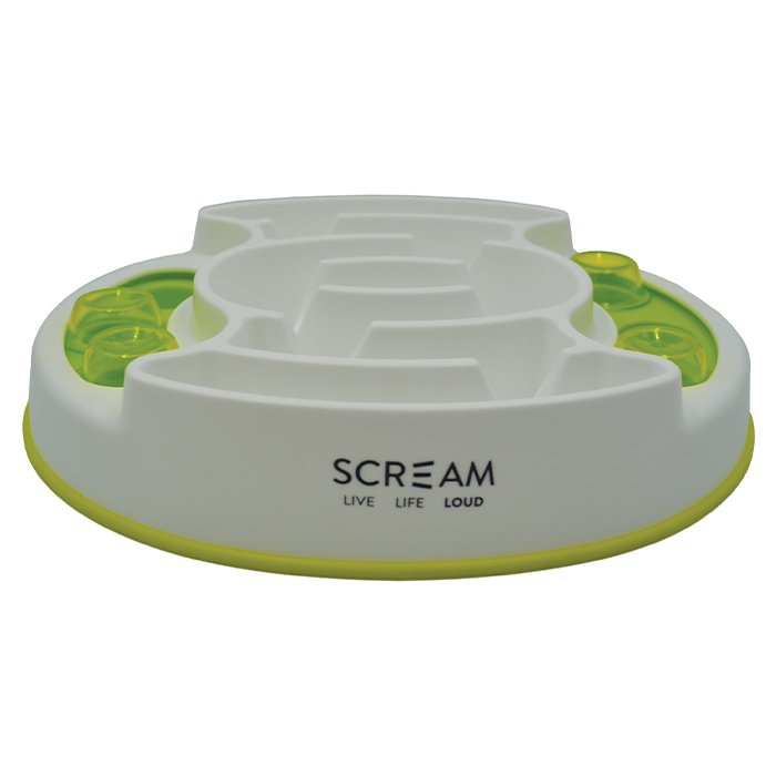 Scream SLOW FEED INTERACTIVE PUZZLE BOWL Loud Green 27x31cm - Click to enlarge
