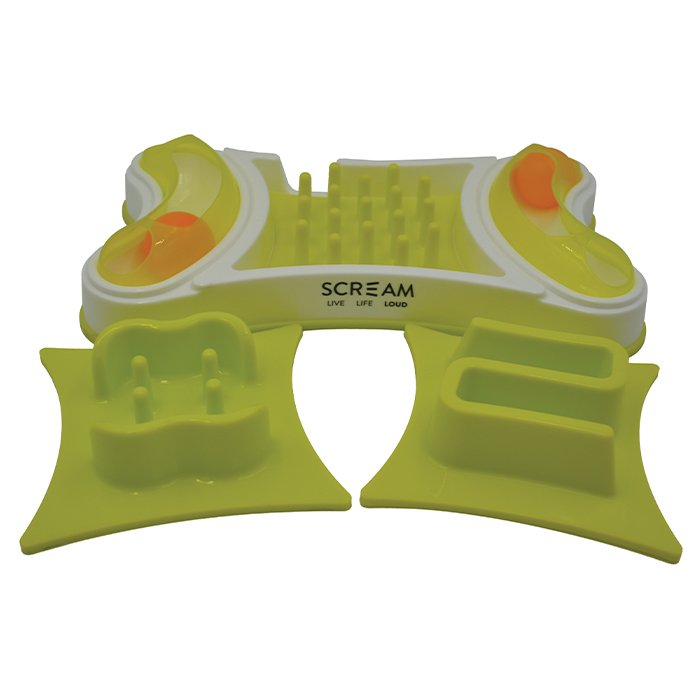 Scream 2-in-1 INTERACTIVE CAT BOWL Loud Green 32.5x19.5cm - Click to enlarge
