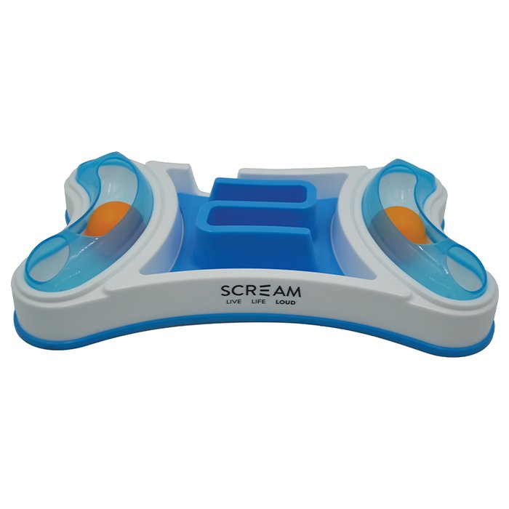 Scream 2-in-1 INTERACTIVE CAT BOWL Loud Blue 32.5x19.5cm