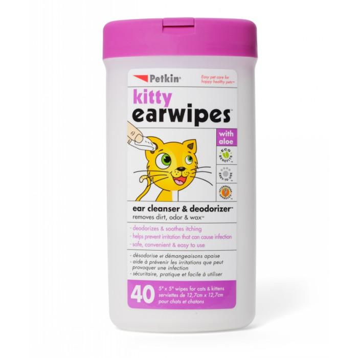 Petkin KITTY EARWIPES - 40pk - Click to enlarge