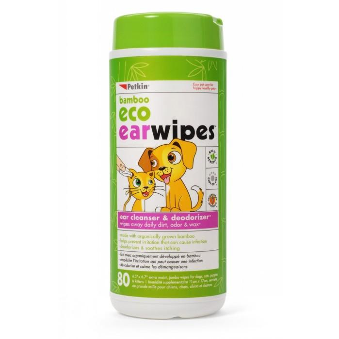 Petkin BAMBOO ECO EAR WIPES -80pk - Click to enlarge