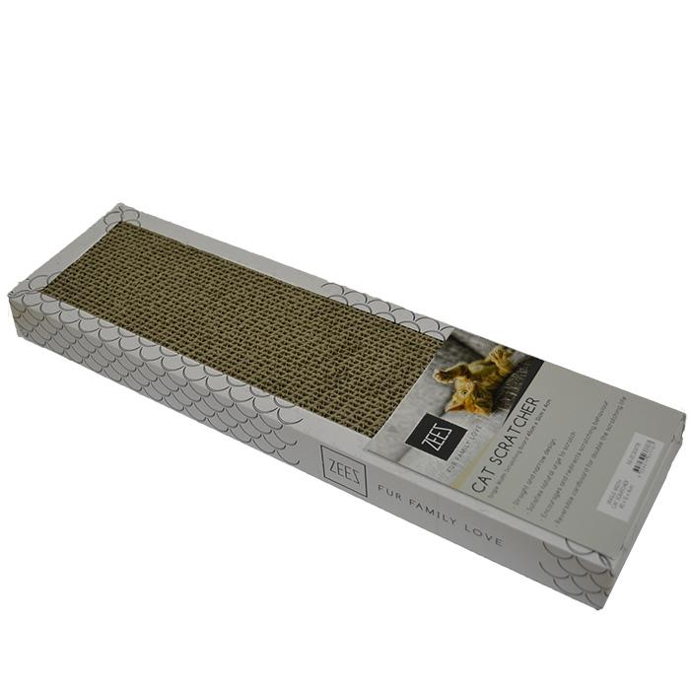 ZEEZ - SINGLE WIDTH CARDBOARD SCRATCHER (45x12x4cm) White