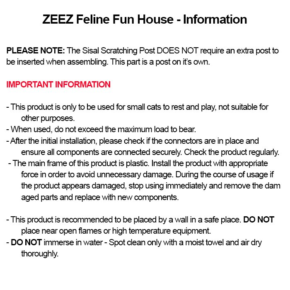 ZEEZ FELINE CUBE FUN HOUSE 40 x 40 x 73cm