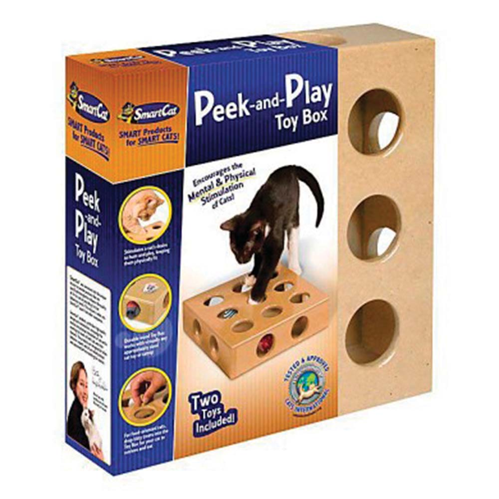 SmartCat PEEK-AND-PLAY TOY BOX cm(26 x 26 x 6) - Click to enlarge
