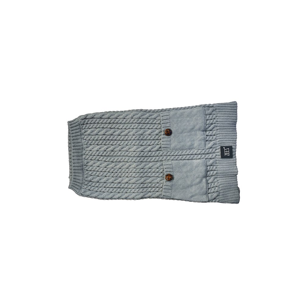 ZEEZ CABLE KNITTED SWEATER X-Small 22cm - Grey - Click to enlarge