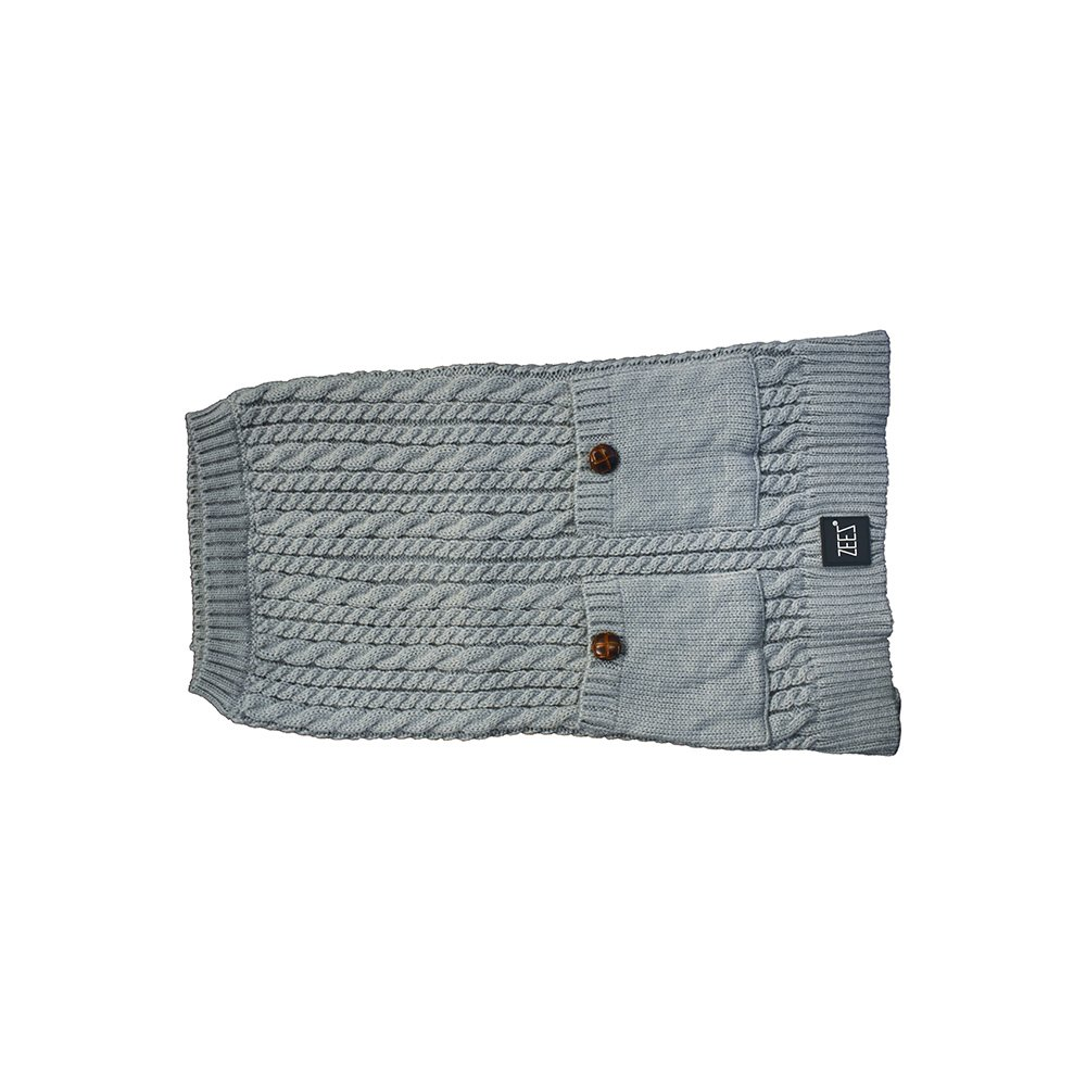 ZEEZ CABLE KNITTED SWEATER Small 27cm - Grey - Click to enlarge