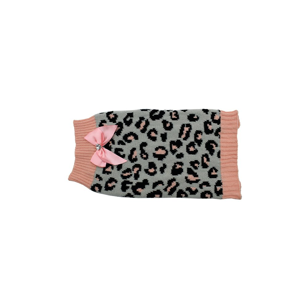 ZEEZ KNITTED SWEATER w/BOW X-Small 22cm - Grey/Pink Leopard - Click to enlarge