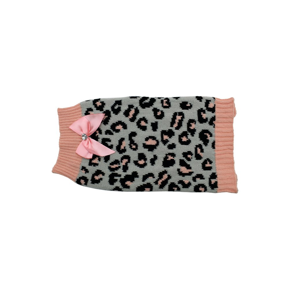 ZEEZ KNITTED SWEATER w/BOW Small 27cm - Grey/Pink Leopard - Click to enlarge