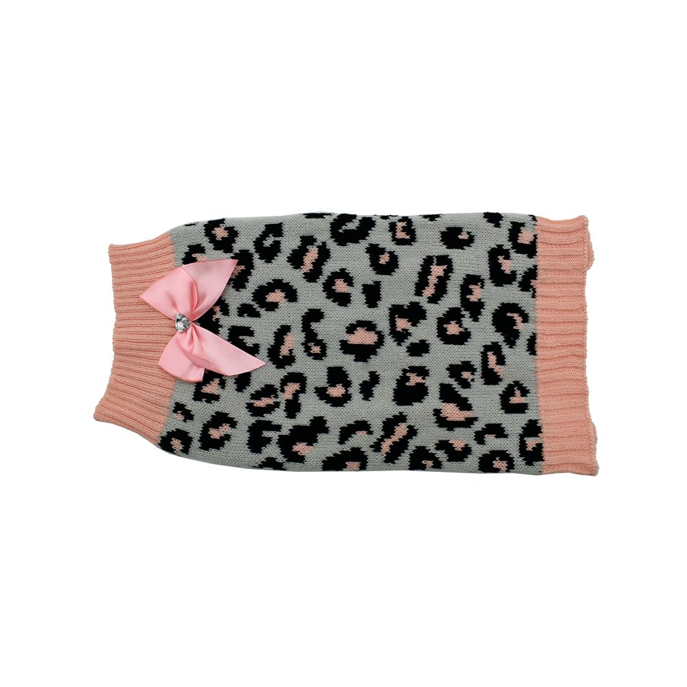 ZEEZ KNITTED SWEATER w/BOW Medium 32cm - Grey/Pink Leopard - Click to enlarge