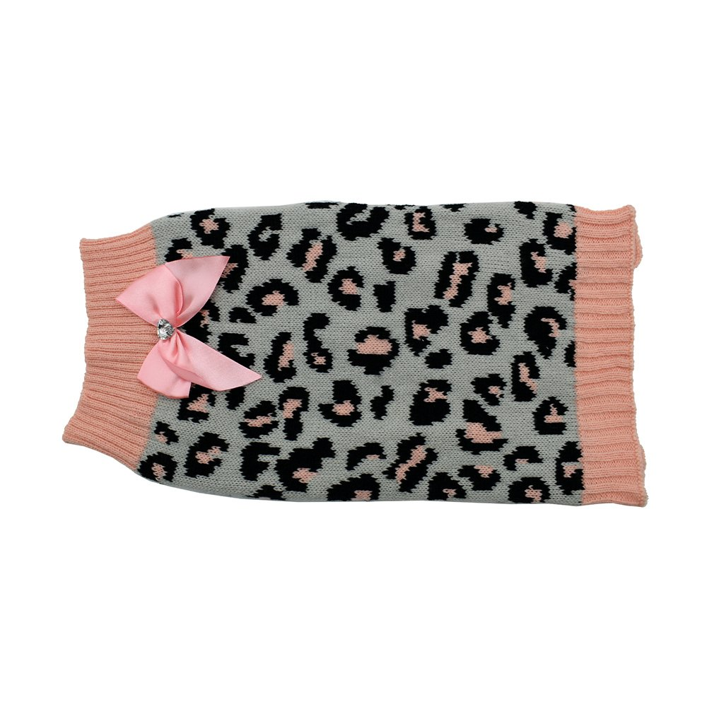 ZEEZ KNITTED SWEATER w/BOW Large 39cm - Grey/Pink Leopard - Click to enlarge
