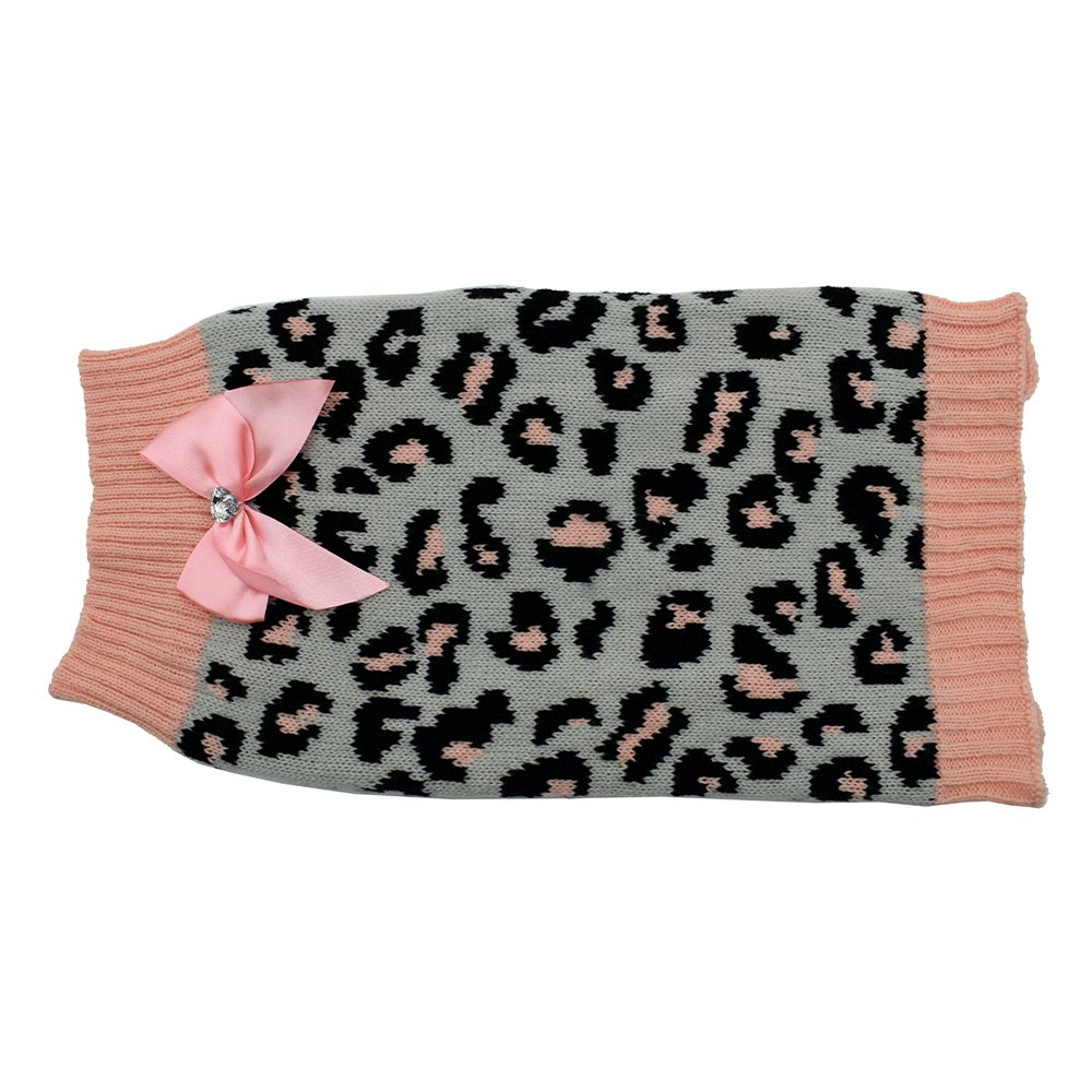 ZEEZ KNITTED SWEATER w/BOW X-Large 45cm - Grey/Pink Leopard - Click to enlarge
