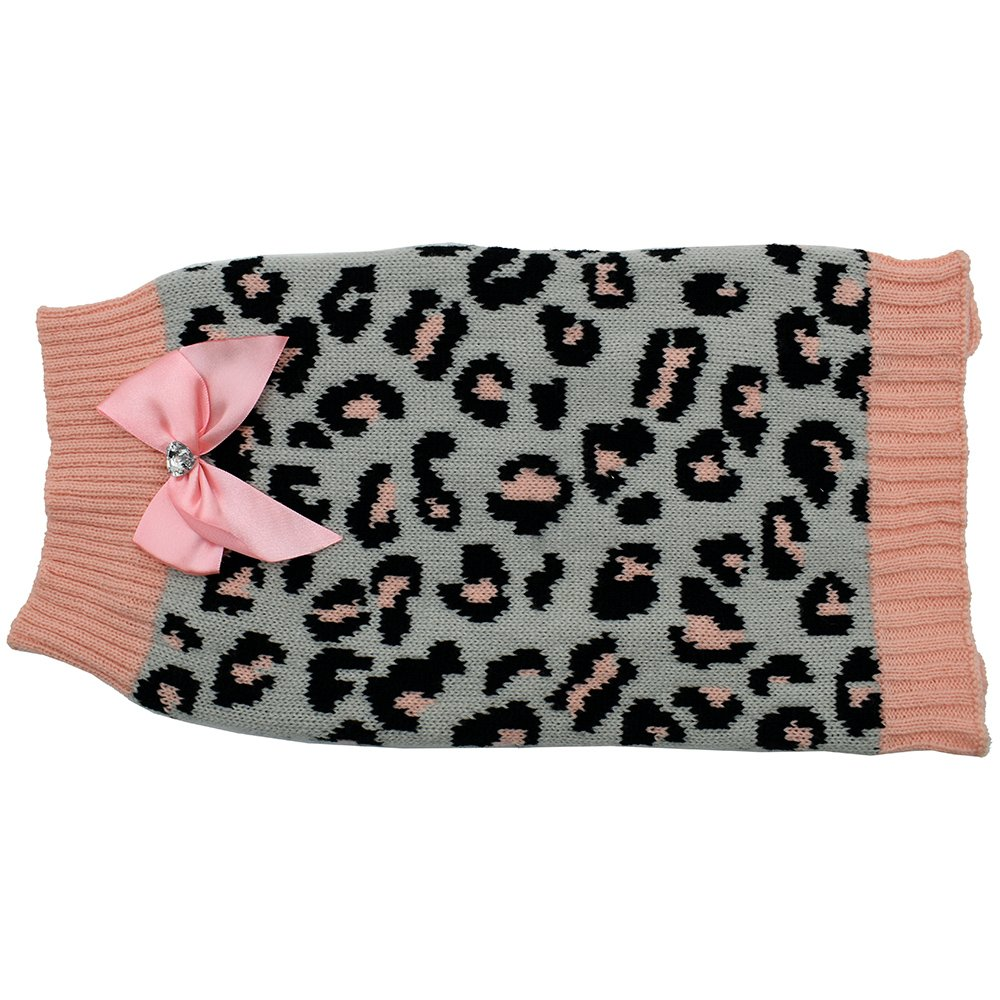 ZEEZ KNITTED SWEATER w/BOW XX-Large 60cm - Grey/Pink Leopard - Click to enlarge