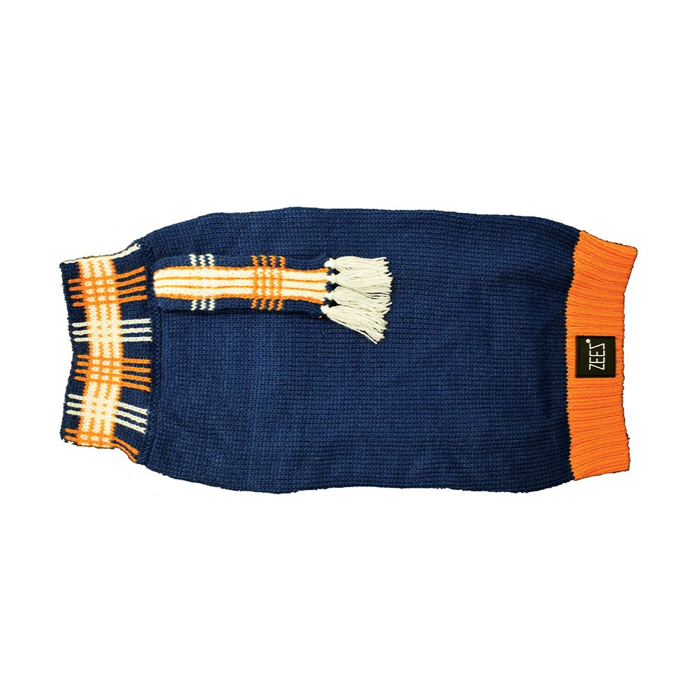 ZEEZ KNITTED SWEATER w/SCARF Large 39cm - Navy - Click to enlarge