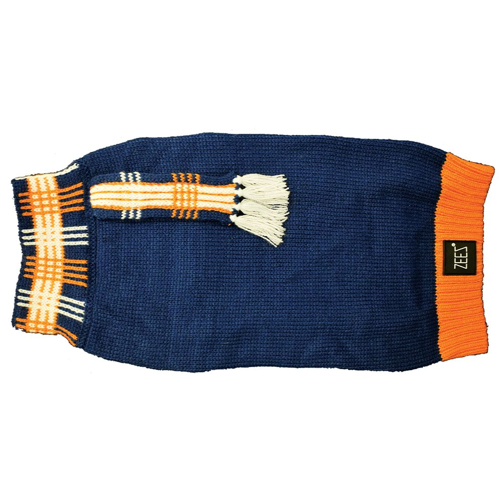 ZEEZ KNITTED SWEATER w/SCARF XX-Large 60cm - Navy - Click to enlarge