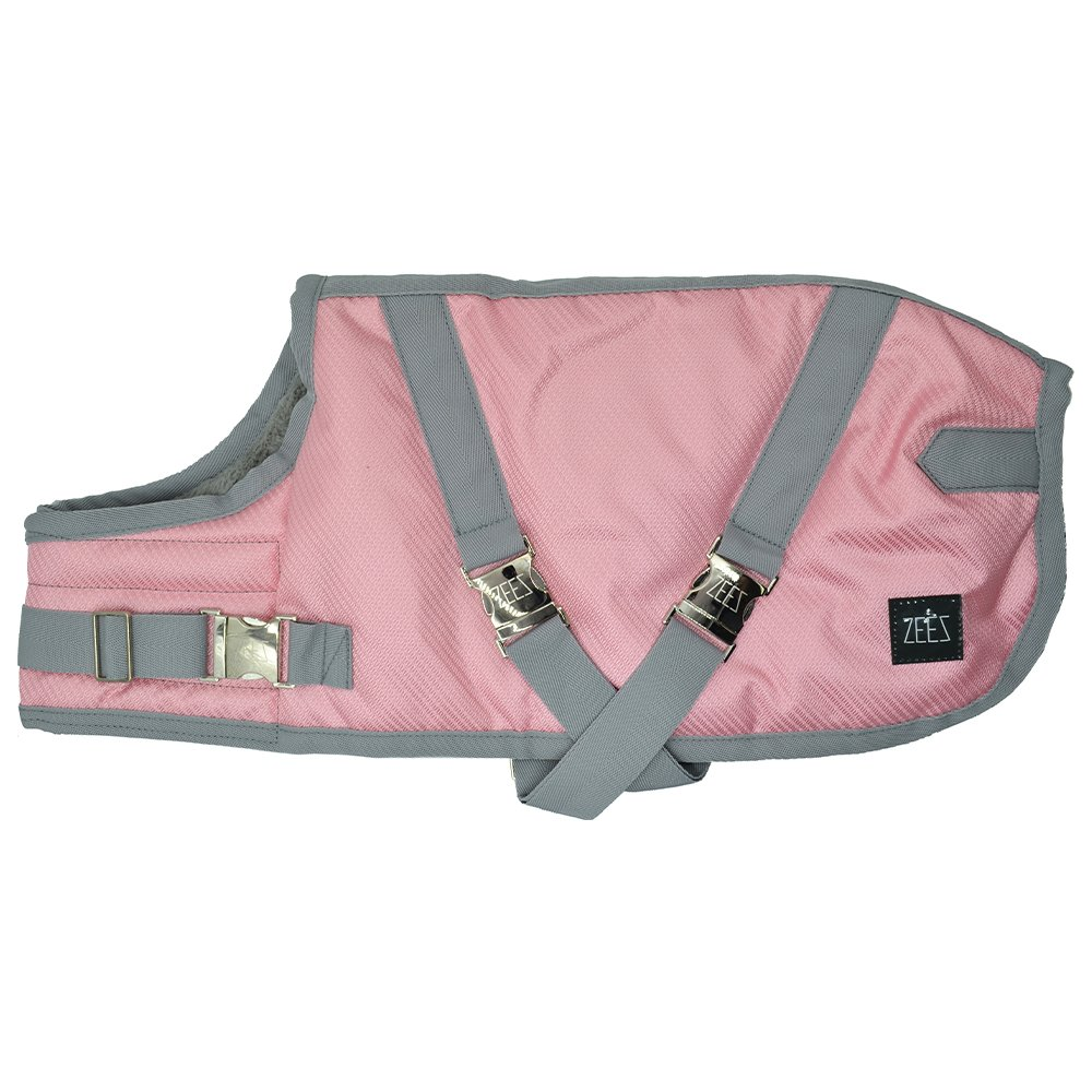 ZEEZ SUPREME DOG COAT Size 18 (46cm) Flamingo Pink/ Grey - Click to enlarge
