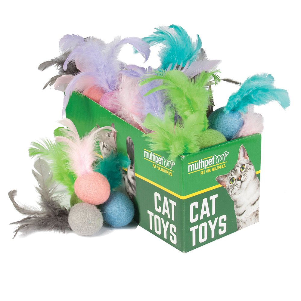 Multipet FELT BALL W/FEATHER CAT TOY Asstd. Colours PDQ 30pc - Click to enlarge