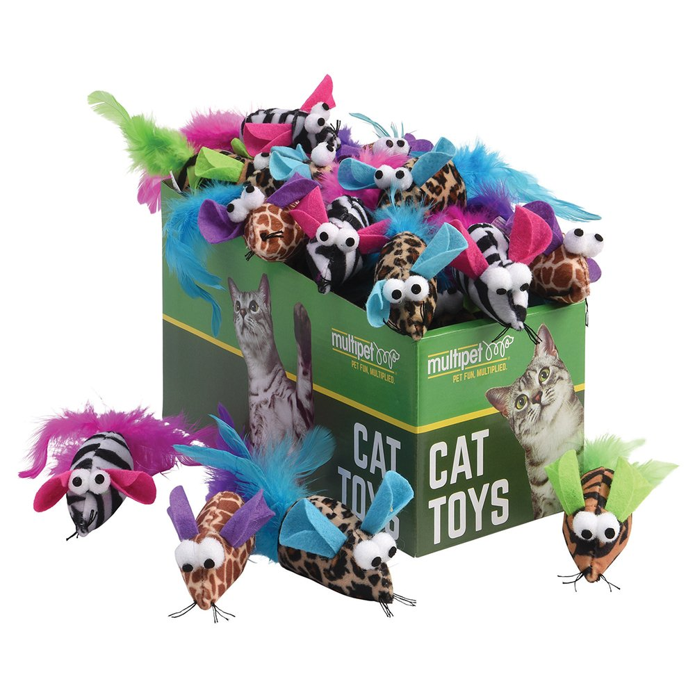Multipet SAFARI MICE CAT TOY Asstd. Colours PDQ 25pc - Click to enlarge