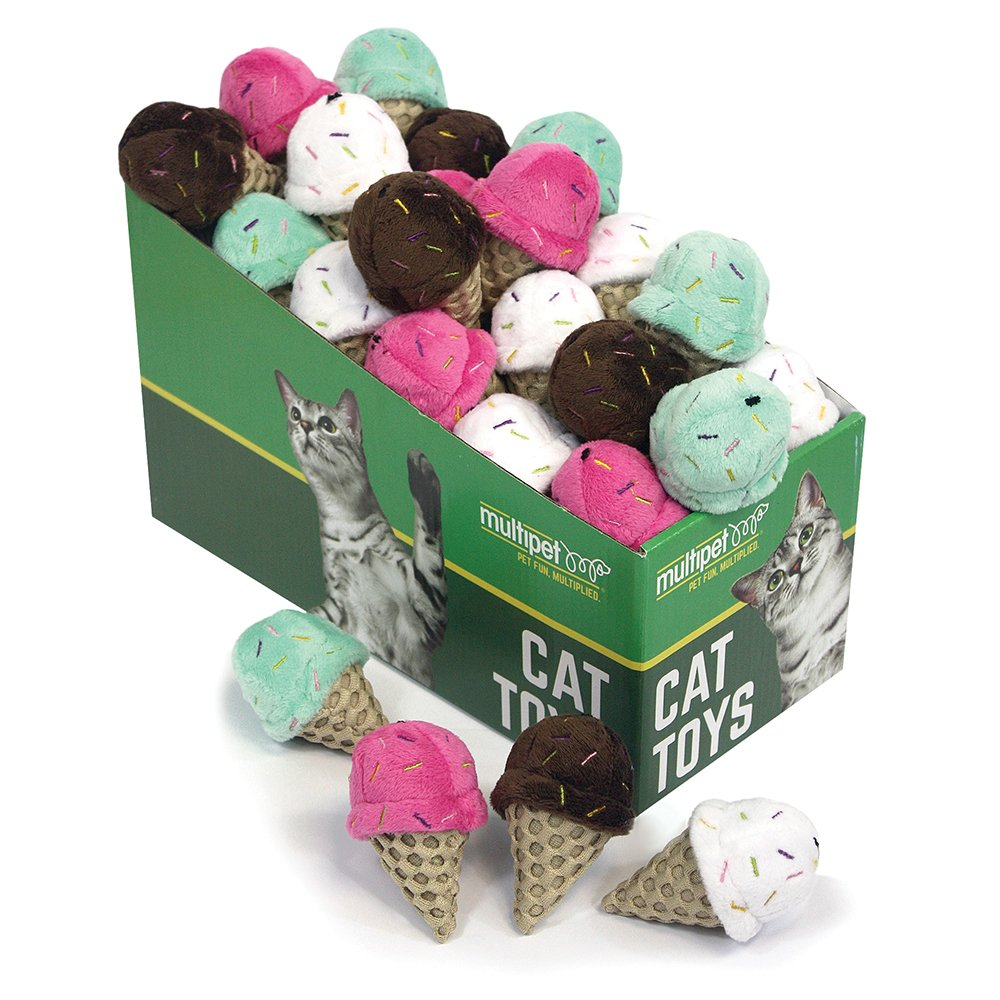 Multipet ICE CREAM CONE CAT TOY Asstd. Colours PDQ 25pc - Click to enlarge