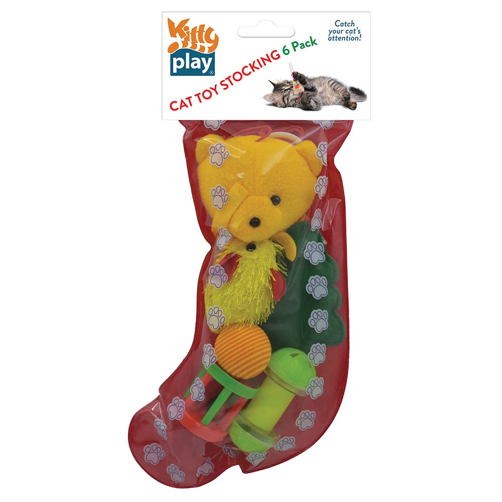 Kitty Play CHRISTMAS CAT TOY STOCKING 6 PACK - Click to enlarge