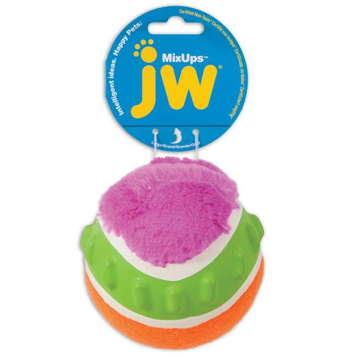 JW MIXUPS RIBBED BALL DOG TOY Large 10cm