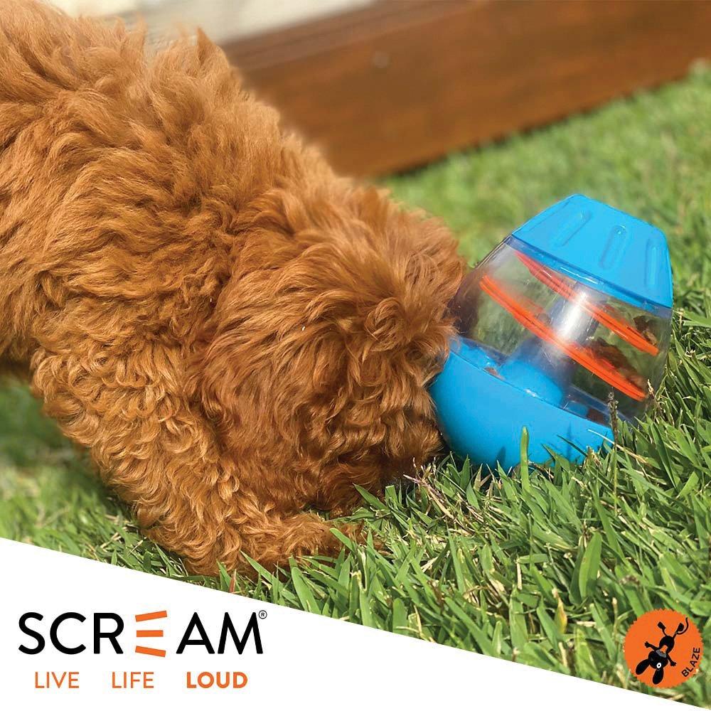 Scream TIP & ROLL TREAT DISPENSER Loud Blue & Orange 13cm
