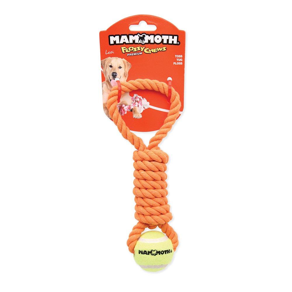 "Flossy Chews TWISTER PULL TUG w/Mini Tennis Ball 11"" (28cm) - Click to enlarge"