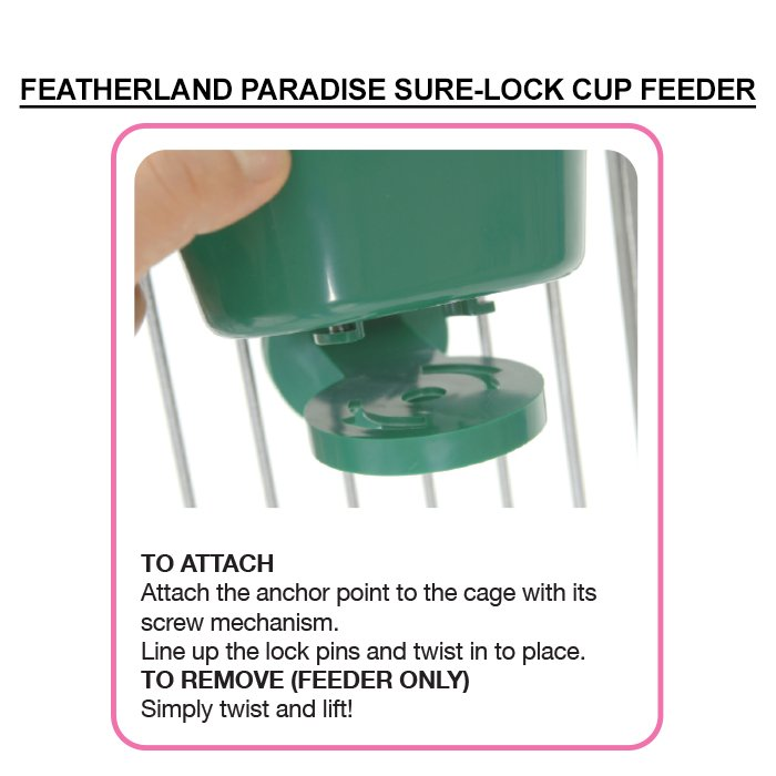 Featherland Paradise SURE-LOCK CUP FEEDER LARGE 20oz (591mL)