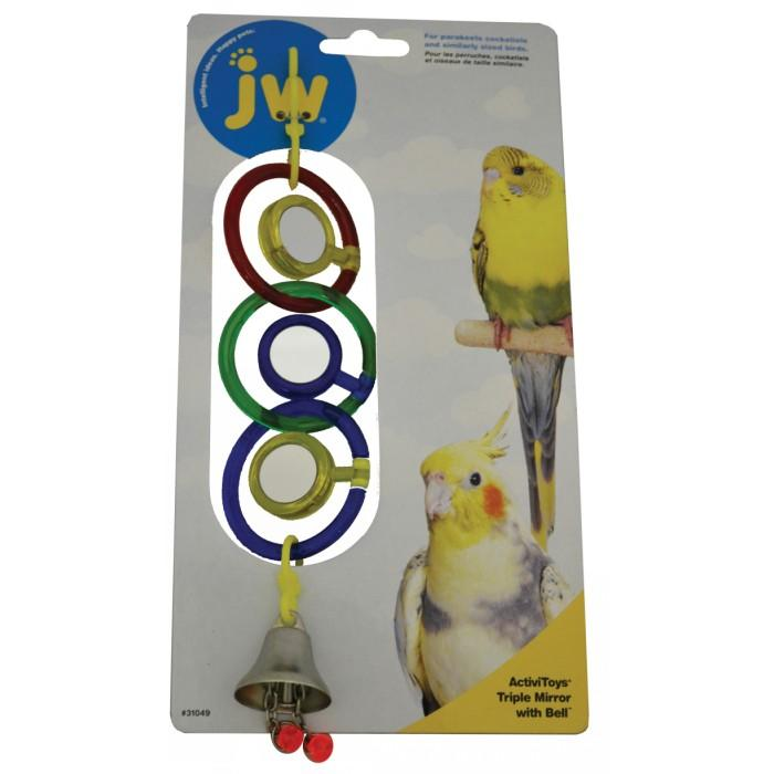 JW Insight BIRD TOY TRIPLE MIRROR WITH BELL - Click to enlarge