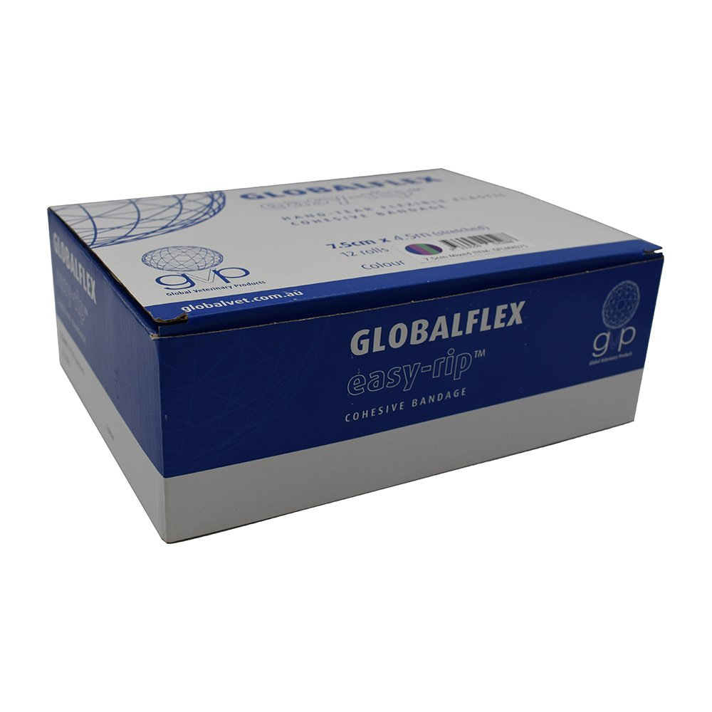 GlobalFlex - EASY-RIP COHESIVE BANDAGE MIXED BOX of 12 (7.5cm x 4.5m)) - Click to enlarge