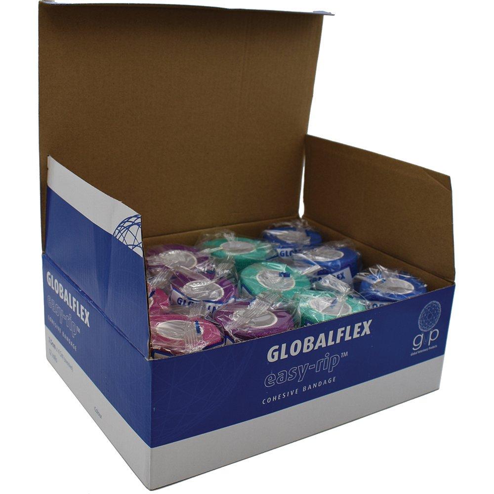 GlobalFlex - EASY-RIP COHESIVE BANDAGE MIXED BOX of 12 (7.5cm x 4.5m))