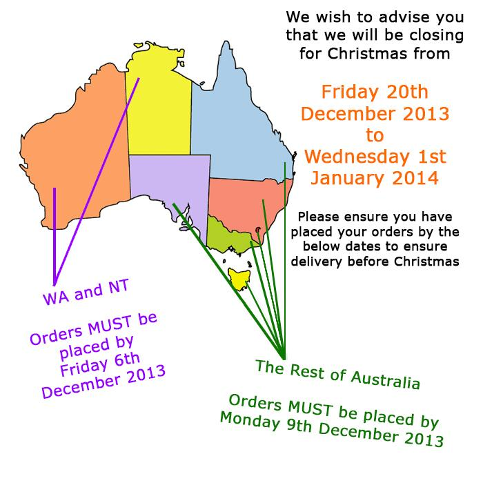 Christmas Closure and Order CUT OFF DATES 2013