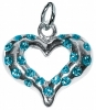 GLITTER COLLAR CHARM - HEART Large Blue (3cm) - Click for more info
