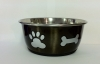 DuraPet FASHION BOWL PAW & BONE 500mL Metallic Grey - Click for more info