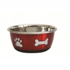 DuraPet FASHION BOWL PAW & BONE 950mL Metallic Red - Click for more info