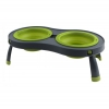 Popware - DOUBLE ELEVATED FEEDER 2 x 591ml Bowls Green - Click for more info