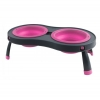 Popware - DOUBLE ELEVATED FEEDER 2 x 591ml Bowls Pink - Click for more info
