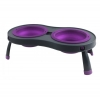 Popware - DOUBLE ELEVATED FEEDER 2 x 591ml Bowls Purple - Click for more info