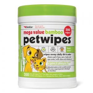Petkin MEGA VALUE BAMBOO ECO PET WIPES - 200pk - Click for more info