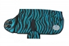 Designer Collection DOG COAT Size XS (10-14)Zebra Teal/Black - Click for more info