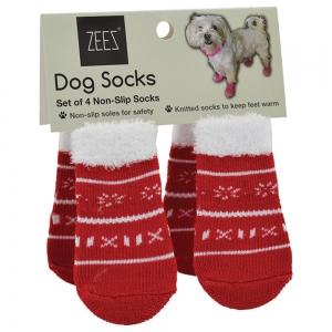 ZeeZ NON-SLIP PET SOCKS CUTE XMAS SWEATER RED/WHITE Small - Click for more info